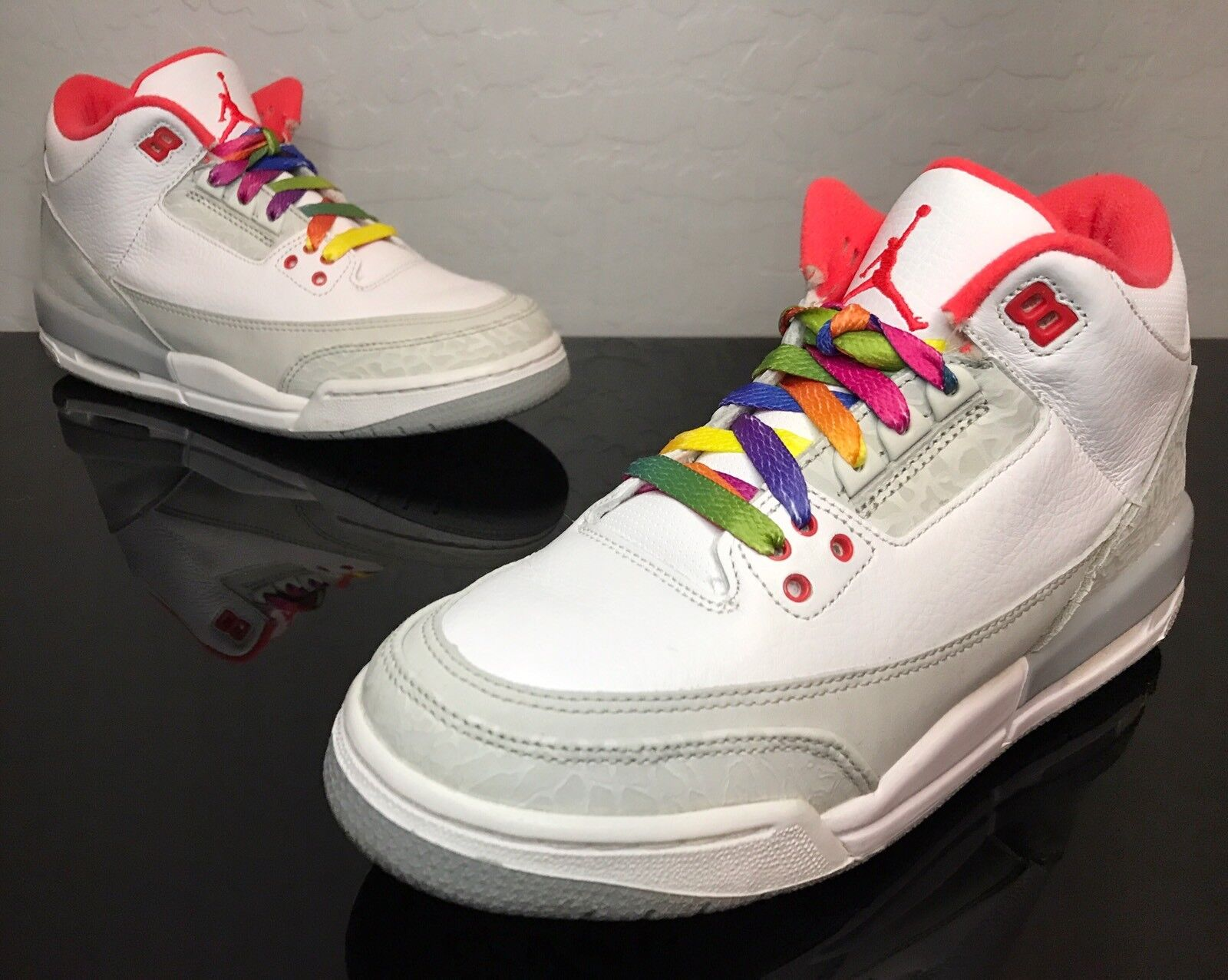 2010 Nike Air Jordan Retro 3 III  Rainbow  Size 6.5Y Size 8W (441140-101) Cement