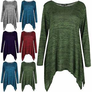 Womens-Knitted-Full-Long-Sleeves-Hanky-Hem-Flared-Jumper-Ladies-Waterfall-Top