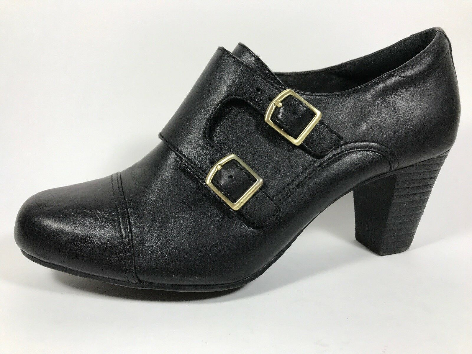 3b6f24e62d41 Clarks Black Bendables Black Leather 27800 Ankle Boots Womens Sz Leather 9  M 526cfe1