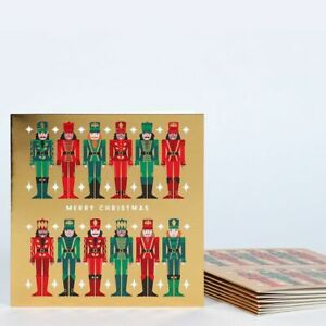 CARDS Christmas Nutcrackers on Gold on heavy Card Pack of 8 Cards - (2277)