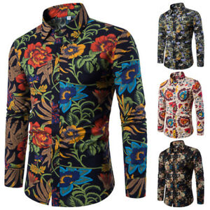 Men-s-Dress-Shirt-Dashiki-Hippie-Shirts-Slim-Tops-Hip-Hop-Casual-Shirt