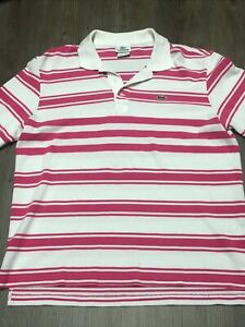 Lacoste-Polo-Dress-Striped-Shirt-Pink-White-Logo-Button-Up-Collar-Mens-Size-M-5