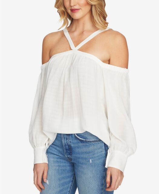 1.STATE Womens Cold-Shoulder Top Pullover Blouse