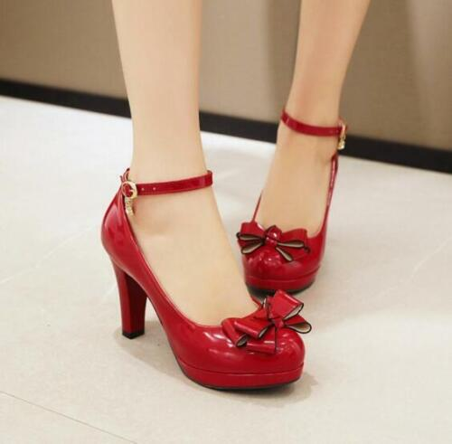 Details about  /Women Bowtie Faux Leather Ankle Buckle Platform Chunky Lolita Heels Mary Janes