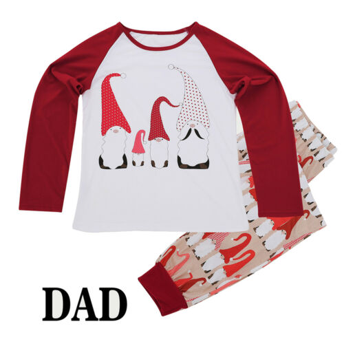 Christmas Family Pajamas Set Men Women Kids Baby Santa Gnome Sleepwear Nightwear