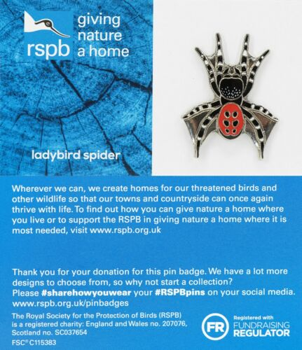 01581 RSPB Pin Badgeladybird spider  GNAH BLUE
