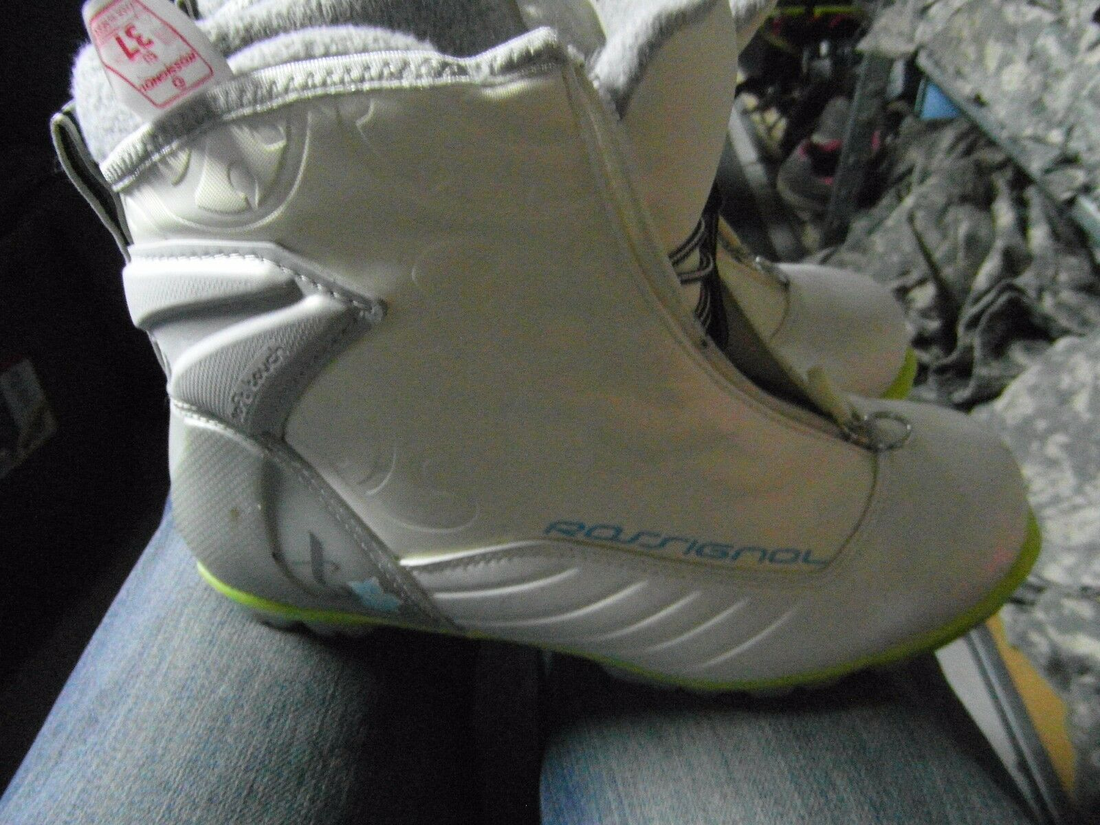 ROSSIGNOL X3 NORDIC CROSS COUNTRY SKI BOOTS WOMENS US 6.5   WHITE GREEN