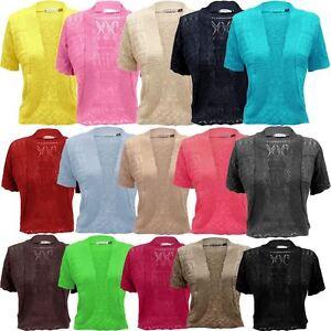 06b57591d9519c Image is loading Ladies-Women-Knitted-Short-Sleeve-Bolero-Shrug-Crop-