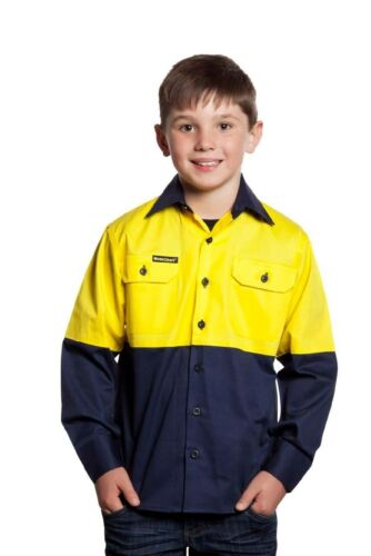 NEW Kids Hi Vis Work Shirt Two Tone Long Sleeve Shirt YellowNavy 0 2 4 6 8 10