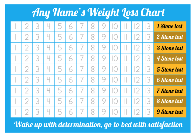 personalised weight loss chart 9 stone laminated with 2 sheets