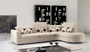 Details about 2 PC Euro Modern Ivory Contemporary Fabric Sectional Sofa  Chaise Living Room Set
