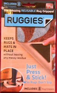 NEW-Ruggies-Set-of-8-Rug-Grippers-AS-SEEN-ON-TV-Washable-Reusable
