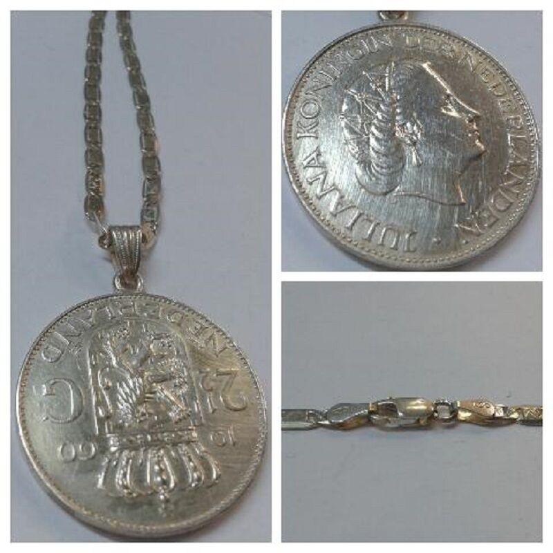 Kette 925-er silver mit Anhänger Münze Münzanhänger 1960 NL