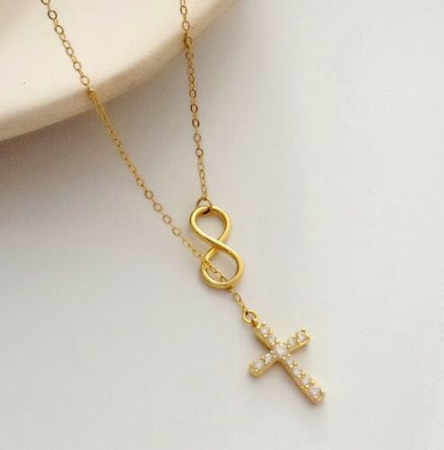 """Details about  /Women 925 Sterling Silver Infinity CZ Cross Choker Chain Necklace 14.7-15.7/"""""""