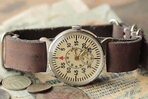 Pobeda-Armbanduhr-RUSSLAND-SOWJETUNION-UDSSR-Uhr-Lederarmband-Style-NATO