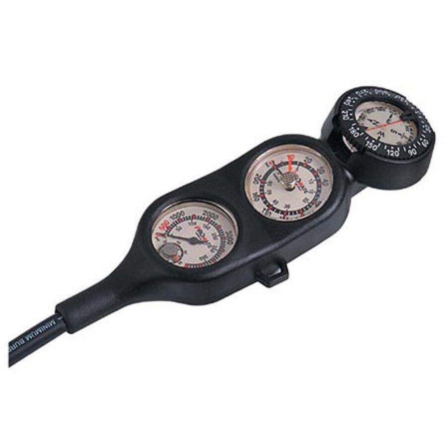Scuba Dive Gauge Console BRASS SPG Thermometer Pressure Depth Compass Metric PSI