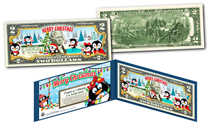 MERRY-CHRISTMAS-PENGUINS-XMAS-OFFICIAL-Genuine-Legal-Tender-U-S-2-Bill