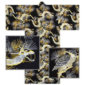 """Kimono Yukata XL Men's 61""""L Falcon Dragon Pattern Cotton Black/Made Japan"""