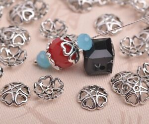 50pcs-10mm-Tibetan-Silver-Bead-Caps-Charms-Heart-Spacer-Beads-Jewelry-Findings