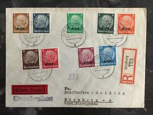 1940 Alsace Strassburg Germany Cover Provisional Overprint Mi # 1-9 to Nuremburg