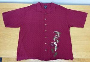 RED-MACAW-100-Rayon-Button-Up-Business-Casual-Dress-Shirt-Size-2XL-Men-039-s-XXL