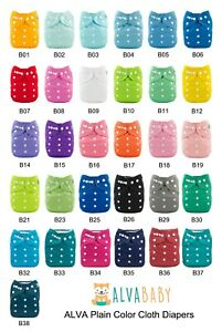 ALVA-Baby-Cloth-Nappies-Plain-Color-Adjustable-Reusable-Nappies-With-Inserts