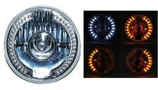 "7"" Motorcycle Projector White LED Halo Amber Turn Signal Headlight Fits: Harley"