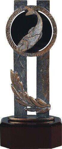 Fischen Figur auf Holzsockel H=220 Trophäe Figur Angeln Gravur im Preis enth