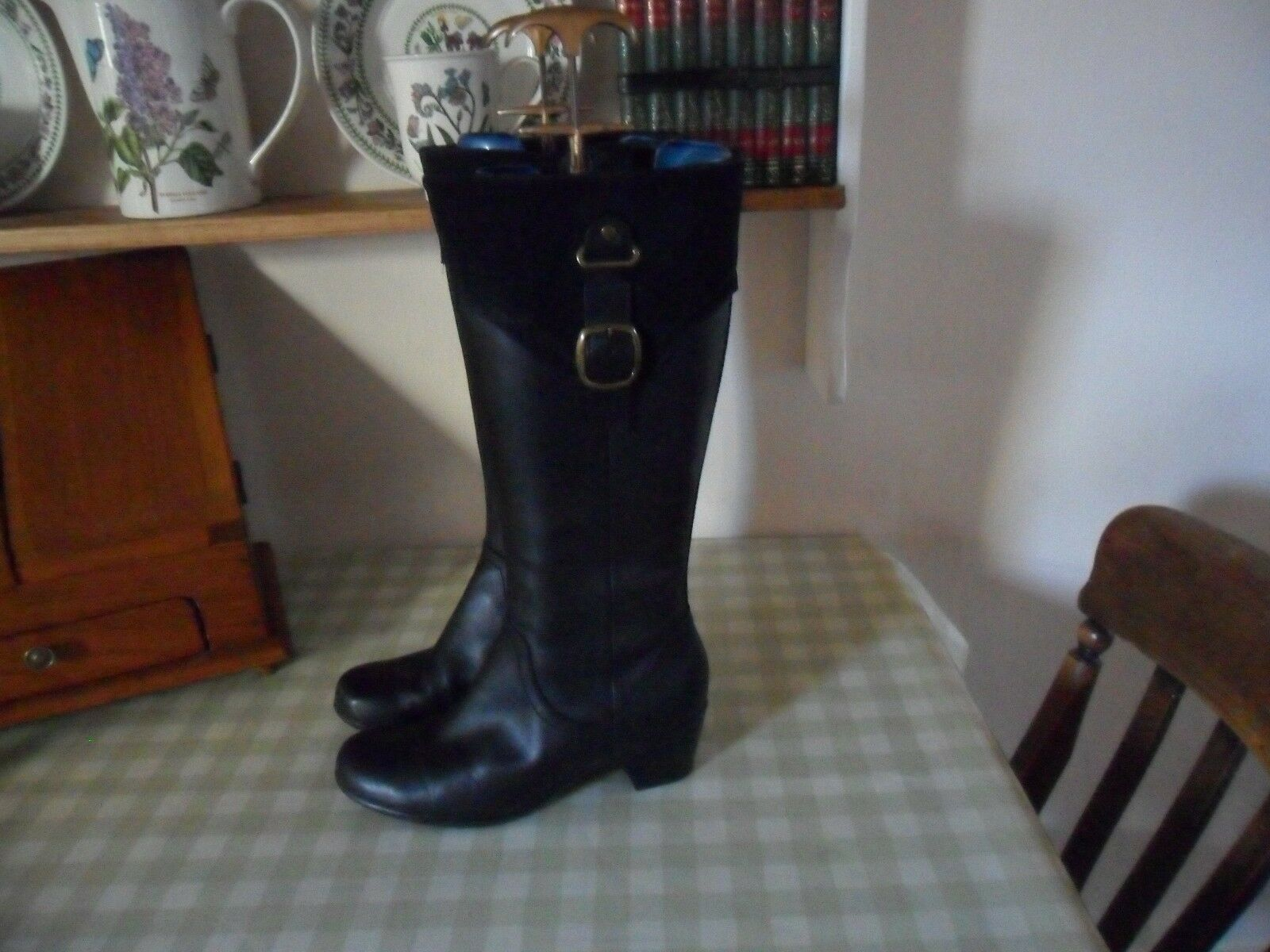 Clarks Bendables Black Leather / Fine Nubuck Suede Tops Knee High Boots Size 5E