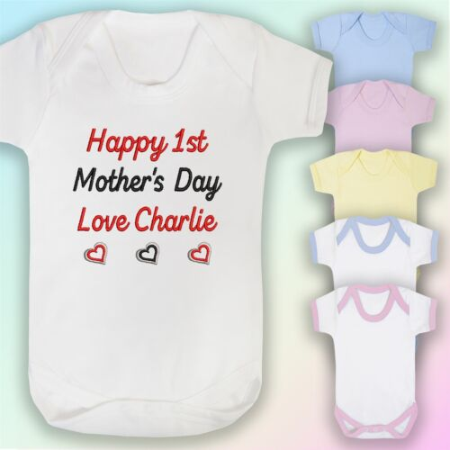Hearts Embroidered Baby Vest Gift Personalised Happy 1st Mother/'s Day