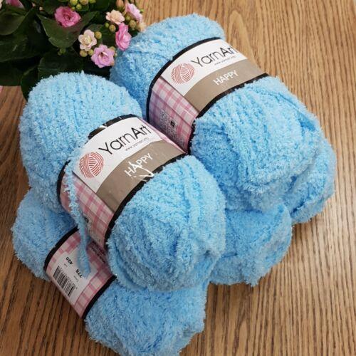 light blue 5 x 100g YarnArt Happy Chunky Fluffy Sparkly Teddy Knitting Yarn