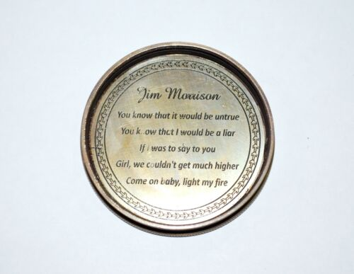 Antique Vintage Style Brass Pocket Jim Morrison Compass