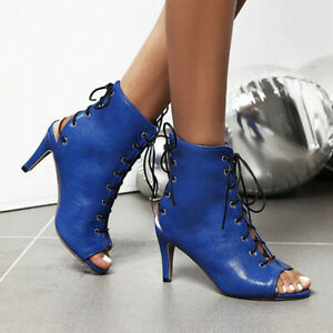 Details about  /Black Lace Up Gladiator High Heel Sandals Strappy Peep Toe Women Shoes 46 47 L