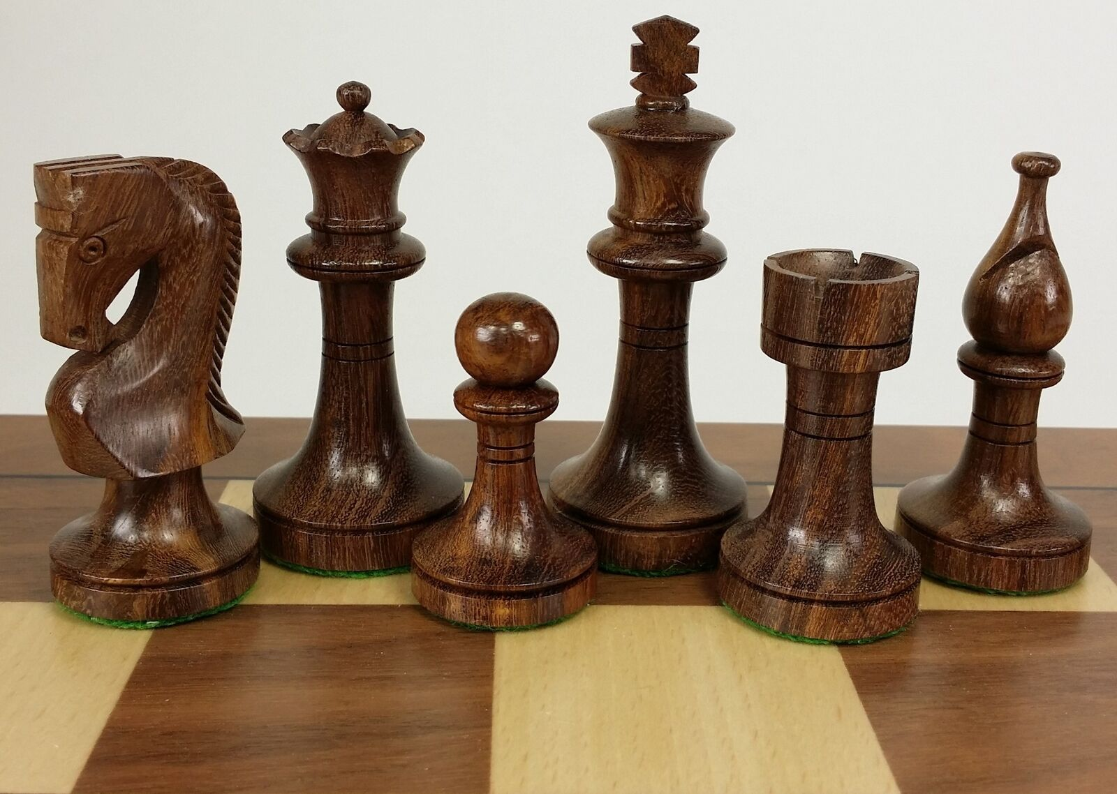 DBL QUEENS Sheesham & Boxwood RUSSIAN 3 1 2  KG Staunton Chess Men Set -NO BOARD