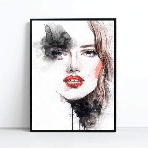 Amelie Watercolour rosso Art Print Poster Scandi Watercolour Print