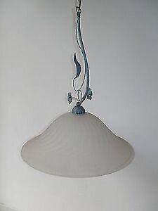 Dettagli su Lampadario da soggiorno cucina in vetro e ferro verde diam.cm  4O BELLISSIMO