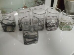 6-Art-Glass-Tumblers-Pontiled-Unsigned-5-Purple-Iridescent-1-Green