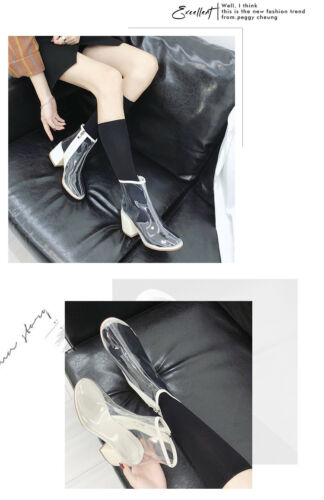 Autumn Women Fashion PVC Ankle Boots Pointed Toe Crystal Heel Transparent Zipper