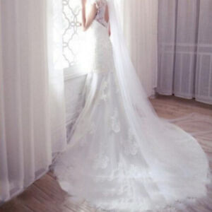 2M-Long-Prom-Gown-Simple-Wedding-Bridal-Veil-Cathedral-With-Comb-LA1