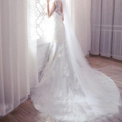 Langes Abendkleid einfache Hochzeit Brautschleier Kathedrale mit Kamm 2m CU6D