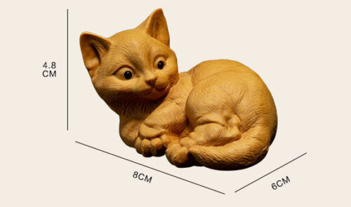 D079ca Lovely Cat 8 x 6 x 4.8 CM Carved Boxwood Carving Figurine