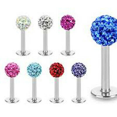 Ferido Crystal Shamballa Monroe Lip Stud Labret Bar Tragus Piercing Jewellery