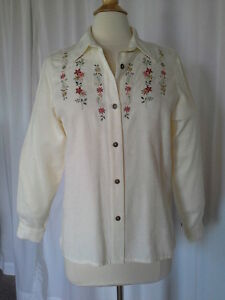 SIZE-12P-New-60-00-ALFRED-DUNNER-Ivory-Button-Down-Embossed-Top-Shirt