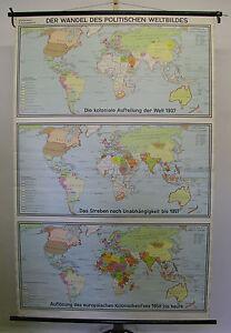 Schulwandkarte schöne alte Weltkarte Erde 1966 136x209 vintage map on