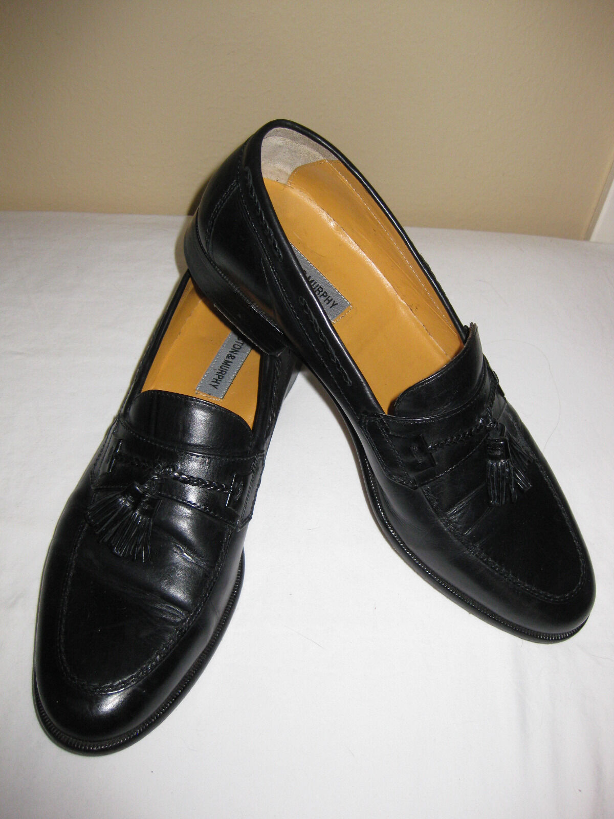 Johnston and Murphy Sz 11 M Black Leather Tassel Loafer