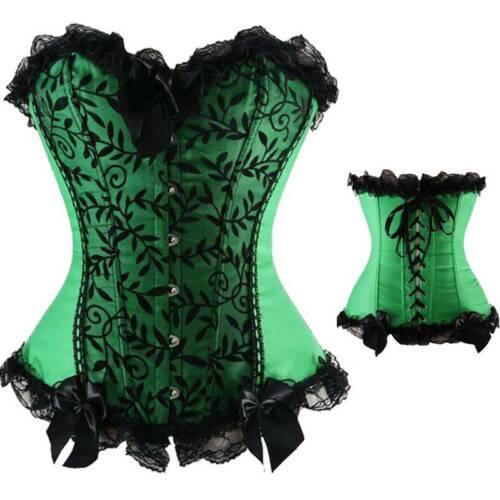 Women Lace Up Boned Bustier Tops Floral Corset Overbust Burlesque Lingerie 6-24