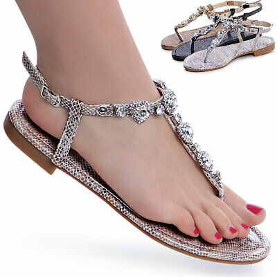 Damenschuhe Riemchen Zehentrenner Glitzer Sandalen Sandaletten Snake Optik