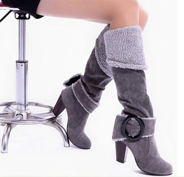 Women Warm Sexy Buckle fashion Suede High Heel Winter Over Knee Boots Shoes