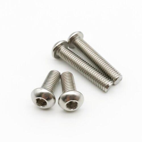 10//50x M2 M2.5 M3 M4M5M6 Hex Allen Hexagon Socket Button Head Screw Bolt ISO7380