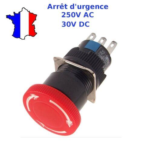 interrupteur coup de poing 16mm 250V bouton d/'arrêt d/'urgence